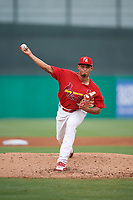 Palm Beach Cardinals starting pitcher Jordan Hicks (44) delivers a pitch during a game against the Charlotte Stone Crabs on July 23, 2017 at Roger Dean Stadium in Palm Beach, Florida.  Charlotte defeated Palm Beach 3-0.  (Mike Janes/Four Seam Images)