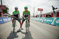 Greame Brown (AUS/Belkin) & Theo Bos (NLD/Belkin) waiting to start<br /> <br /> 2014 Belgium Tour<br /> (final) stage 5: Oreye - Oreye (179km)