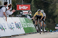 Primoz Roglic (SVN/Jumbo-Visma) looking strong sprinting towards the finish with 100 meters to go, with World Champion Julian Alaphilippe (FRA/Deceuninck - QuickStep) in his wake<br /> <br /> 85th La Flèche Wallonne 2021 (1.UWT)<br /> 1 day race from Charleroi to the Mur de Huy (BEL): 194km<br /> <br /> ©kramon