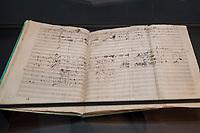 """Beethoven-Ausstellung """"Diesen Kuss der ganzen Welt!"""" in der Staatsbibliothek zu Berlin.<br /> Im Haus Unter den Linden wird eine der weltweit bedeutendsten Sammlungen von Notenhandschriften Ludwig van Beethovens und Autographen vom 11. Maerz bis 30. April 2020 gezeigt.<br /> Im Bild: Die Noten zu """"Missa solmeis in D-Dur op. 123.<br /> 10.3.2020, Berlin<br /> Copyright: Christian-Ditsch.de<br /> [NUR FUER REDAKTIONELLE ZWECKE! Werbung nur auf Anfrage beim Fotografen. Inhaltsveraendernde Manipulation des Fotos nur nach ausdruecklicher Genehmigung des Fotografen. Vereinbarungen ueber Abtretung von Persoenlichkeitsrechten/Model Release der abgebildeten Person/Personen liegen nicht vor. NO MODEL RELEASE! Don't publish without copyright Christian-Ditsch.de, Veroeffentlichung nur mit Fotografennennung, sowie gegen Honorar, MwSt. und Beleg. Konto: I N G - D i B a, IBAN DE58500105175400192269, BIC INGDDEFFXXX, Kontakt: post@christian-ditsch.de<br /> Bei der Bearbeitung der Dateiinformationen darf die Urheberkennzeichnung in den EXIF- und  IPTC-Daten nicht entfernt werden, diese sind in digitalen Medien nach §95c UrhG rechtlich geschuetzt. Der Urhebervermerk wird gemaess §13 UrhG verlangt.]"""