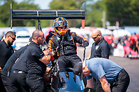 Aug 18, 2019; Brainerd, MN, USA; Crew members for NHRA top fuel driver Mike Salinas during the Lucas Oil Nationals at Brainerd International Raceway. Mandatory Credit: Mark J. Rebilas-USA TODAY Sports