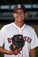 GCL Red Sox pitcher Enmanuel De Jesus (17) poses for a photo before the first game of a doubleheader against the GCL Rays on August 4, 2015 at Charlotte Sports Park in Port Charlotte, Florida.  GCL Red Sox defeated the GCL Rays 10-2.  (Mike Janes/Four Seam Images)