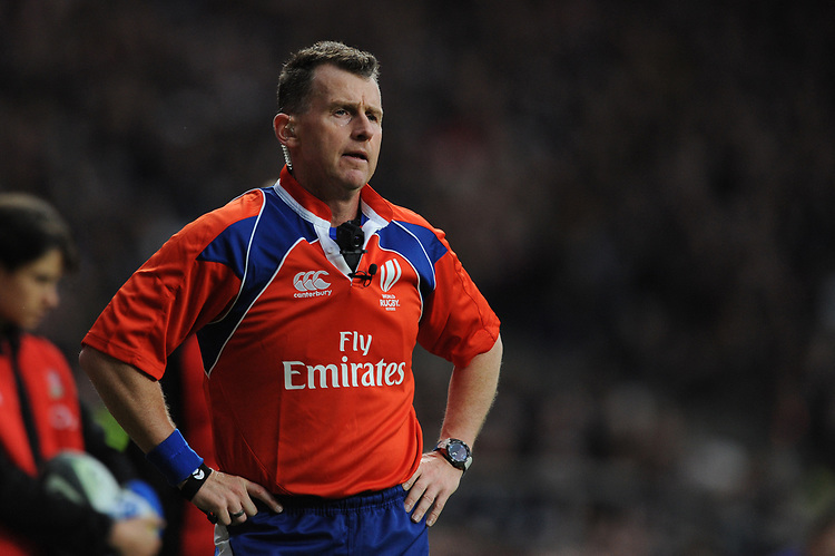 Referee Nigel Owens of Wales during the 125th Anniversary Match between Barbarians and New Zealand at Twickenham Stadium on Saturday 4th November 2017 (Photo by Rob Munro/Stewart Communications)