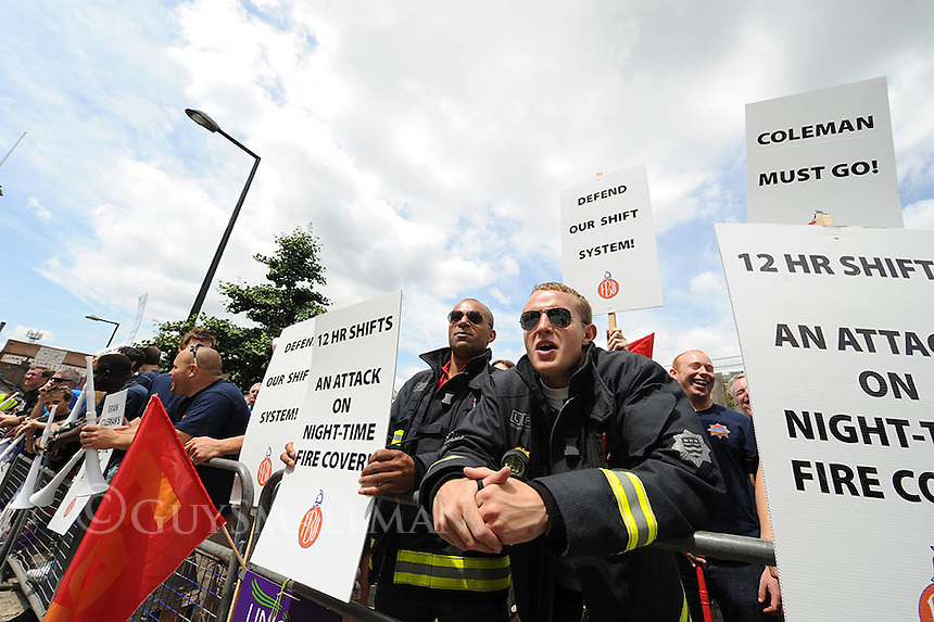Members of the London Fire Brigades Union protest outside a GLA meeting over shift changes being proposed by Chief Fire Officer Brian Coleman.