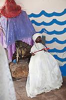 "Cuba, Trinidad.   Shrine at the Templo de Yemalla (""Jemaya""), a Yoruba Orisha, Protector of Children, representing the Ocean, Water, Fish."