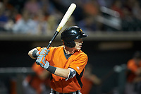 Chris Clare (2) of the Frederick Keys at bat against the Winston-Salem Dash at BB&T Ballpark on July 26, 2018 in Winston-Salem, North Carolina. The Keys defeated the Dash 6-1. (Brian Westerholt/Four Seam Images)