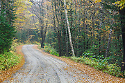 Tripoli Road in Livermore, New Hampshire during the autumn foliage season. Completed in 1934, Tripoli Road for most of its length is an unpaved bumpy dirt road that connects Waterville Valley and Woodstock, New Hampshire. This is a seasonal road closed during the winter months.