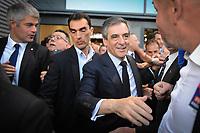 Meeting de FranÁois Fillon ‡ Lyon Eurexpo, France, 12 avril 2017. 10000 participants selon les organisateurs. FranÁois Fillon et Laurent Wauquiez.