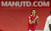1st November 2020, Old Trafford, Manchester, England;  Manchester Uniteds substitute Edinson Cavani gestures during the English Premier League match between Manchester United FC and Arsenal FC at Old Trafford in Manchester