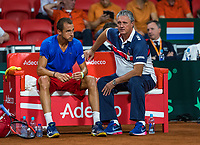 The Hague, The Netherlands, September 15, 2017,  Sportcampus , Davis Cup Netherlands - Chech Republic, Seccond Rubber: Lukas Rosol (CZE) on the Chech bench with captain Navratil<br /> Photo: Tennisimages/Henk Koster