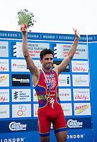 15 SEP 2013 - LONDON, GBR - Javier Gomez (ESP) of Spain celebrates winning the ITU 2013 World Triathlon Series Grand Final in Hyde Park, London, Great Britain (PHOTO COPYRIGHT © 2013 NIGEL FARROW, ALL RIGHTS RESERVED)
