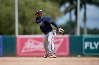 GCL Braves second baseman Eliezel Stevens (8) throws to first base during a Gulf Coast League game against the GCL Orioles on August 5, 2019 at Ed Smith Stadium in Sarasota, Florida.  GCL Orioles defeated the GCL Braves 4-3 in the second game of a doubleheader.  (Mike Janes/Four Seam Images)