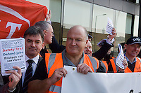 Protest by RMT Trade Union at Network Rail HQ. The demonstration was called over cuts proposed by Network Rail to track renewal programmes which the union say will affect safety.