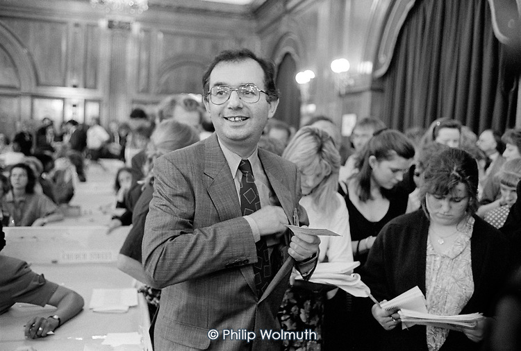 Paul Dimoldenberg, , leader of the Labour group on Westminster City Council, at the 1990 local election count, Porchester Hall. The Conservatives, later found guilty of gerrymandering, increased their majority from 4 to 38 seats.