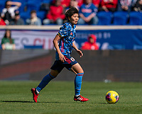 HARRISON, NJ - MARCH 08: Shiori Miyake of Japan dribbles during a game between England and Japan at Red Bull Arena on March 08, 2020 in Harrison, New Jersey.