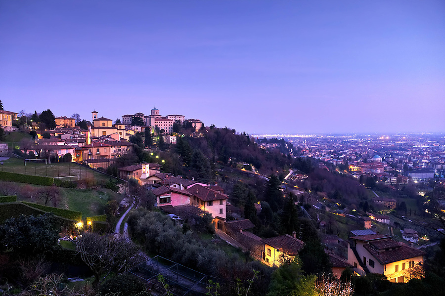 Bergamo Città Alta at sunset, Italy