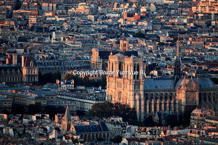 Aerial view of Notre Dame cathedral at dusk. city of Paris. Paris. France