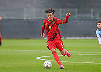 Noah Mawete Kinsiona (6) of Belgium pictured in action during a soccer game between the national teams Under17 Youth teams of  Norway and Belgium on day 3 in the Qualifying round in group 3 on Tuesday 12 th of October 2020  in Tubize , Belgium . PHOTO SPORTPIX   DAVID CATRY