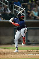 Trey Harris (22) of the Mississippi Braves at bat against the Birmingham Barons at Regions Field on August 3, 2021, in Birmingham, Alabama. (Brian Westerholt/Four Seam Images)