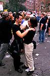 'GAYFEST MANCHESTER, UK', TWO GIRLS EMBRACE IN SACKVILLE STREET, OUTSIDE THE LESBIAN BAR 'VANILLA', 1999
