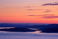 Spectacular sunset across Rosario Strait, from high atop Eagle Cliff, Cypresss Island, San Juan Islands, Washington
