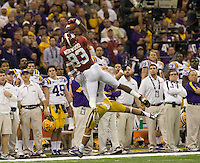 Kevin Norwood of Alabama catches a long pass during BCS National Championship game against LSU at Mercedes-Benz Superdome in New Orleans, Louisiana on January 9th, 2012.   Alabama defeated LSU, 21-0.