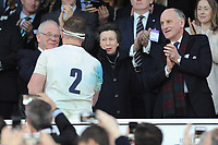 Princess Anne comments as Dylan Hartley of England is presented the Calcutta Cup by Peter Baines, president of RFU, during the RBS 6 Nations match between England and Scotland at Twickenham Stadium on Saturday 11th March 2017 (Photo by Rob Munro/Stewart Communications)
