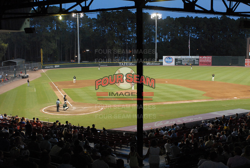 Grayson Stadium during a game between the  Savannah Sand Gnats and the West Virginia Power on July 21, 2011, in Savannah, Georgia. (Tom Priddy/Four Seam Images)