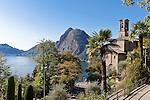 Switzerland, Ticino, Castagnola at Lago Lugano: church San Giorgio and Monte San Salvatore | Schweiz, Tessin, Castagnola am Luganer See: Kirche San Giorgio and Monte San Salvatore