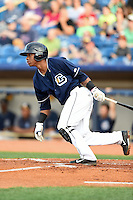 Lake County Captains second baseman Claudio Bautista (10) at bat during a game against the Dayton Dragons on June 7, 2014 at Classic Park in Eastlake, Ohio.  Lake County defeated Dayton 4-3.  (Mike Janes/Four Seam Images)