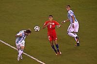 Action photo during the match Argentina vs Chile corresponding to the Final of America Cup Centenary 2016, at MetLife Stadium.<br /> <br /> Foto durante al partido Argentina vs Chile cprresponidente a la Final de la Copa America Centenario USA 2016 en el Estadio MetLife , en la foto:(i-d)Lionel Messi de Argentina y Alexis Sanchez de Chile<br /> <br /> <br /> 26/06/2016/MEXSPORT/JAVIER RAMIREZ