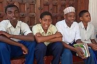 Zanzibar, Tanzania.  Secondary School Teenage Boys in Stone Town.