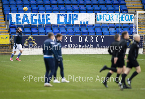 St Johnstone v Hibs …06.03.21   McDiarmid Park   SPFL<br />League Cup banners pictured at McDiarmid Park as the players warm-up<br />Picture by Graeme Hart.<br />Copyright Perthshire Picture Agency<br />Tel: 01738 623350  Mobile: 07990 594431