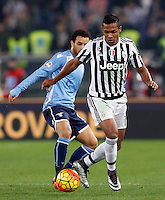 Calcio, Serie A: Lazio vs Juventus. Roma, stadio Olimpico, 4 dicembre 2015.<br /> Juventus' Alex Sandro, right, is chased by Lazio's Felipe Anderson during the Italian Serie A football match between Lazio and Juventus at Rome's Olympic stadium, 4 December 2015.<br /> UPDATE IMAGES PRESS/Riccardo De Luca