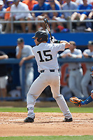 Logan Harvey (15) of the Wake Forest Demon Deacons at bat against the Florida Gators in Game One of the Gainesville Super Regional of the 2017 College World Series at Alfred McKethan Stadium at Perry Field on June 10, 2017 in Gainesville, Florida. The Gators defeated the Demon Deacons 2-1 in 11 innings. (Brian Westerholt/Four Seam Images)