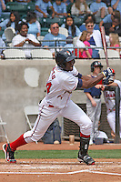 Abner Abreu #34 of the Kinston Indians at bat during a game against the Lynchburg Hillcats at Granger Stadium on April 28, 2010 in Kinston, NC. Photo by Robert Gurganus/Four Seam Images.