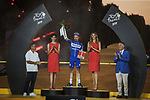 Julian Alaphilippe (FRA) Deceuninck-Quick Step is awarded the most combative rider of the entire Tour on the final podium at the end of Stage 21 of the 2019 Tour de France running 128km from Rambouillet to Paris Champs-Elysees, France. 28th July 2019.<br /> Picture: ASO/Pauline Ballet   Cyclefile<br /> All photos usage must carry mandatory copyright credit (© Cyclefile   ASO/Pauline Ballet)