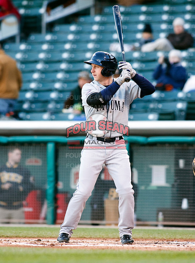 Tacoma Rainiers outfielder Mike Carp #21 during a game vs. Salt Lake Bees on April 26, 2011 at Spring Mobile Ballpark in Salt Lake City, Utah . Salt Lake Bees were defeated by Tacoma 8-4.  Photo By Matthew Sauk/Four Seam Images
