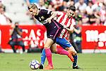 Sporting de Gijon's Moi Gomez (r) and FC Barcelona's Lucas Digne during La Liga match. September 24,2016. (ALTERPHOTOS/Acero)