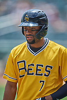 Jo Adell (7) of the Salt Lake Bees comes up to bat against the Tacoma Rainiers at Smith's Ballpark on May 16, 2021 in Salt Lake City, Utah. The Bees defeated the Rainiers 8-7. (Stephen Smith/Four Seam Images)