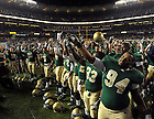Nov. 20, 2010; The team sings the Alma Mater after defeating Army at Yankee Stadium. ..Photo by Matt Cashore/University of Notre Dame