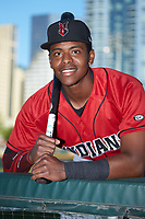 Indianapolis Indians third baseman Ke'Bryan Hayes (24) poses for a photo prior to the game against the Charlotte Knights at BB&T BallPark on April 27, 2019 in Charlotte, North Carolina. The Indians defeated the Knights 8-4. (Brian Westerholt/Four Seam Images)