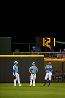 Omaha Storm Chasers outfielders Ryan McBroom (9), Kyle Isbel (3), and Edward Olivares (14) during a game against the Iowa Cubs on August 14, 2021 at Werner Park in Omaha, Nebraska. (Zachary Lucy/Four Seam Images)