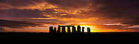 Winter sunset at Stonehenge, Wiltshire, southern England.