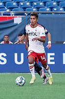 FOXBOROUGH, MA - JUNE 26: Gibran Rayo #14 of North Texas SC brings the ball forward during a game between North Texas SC and New England Revolution II at Gillette Stadium on June 26, 2021 in Foxborough, Massachusetts.