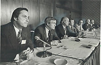1980 FILE PHOTO - ARCHIVES -<br /> <br /> Gang of seven: The seven premiers most opposed to Prime Minister Pierre Trudeau's plan to bring back the constitution without provincial consent were dubbed the Gang of seven at premiers' meeting in Harbour Castle Hotel. Left to right at press conference are: William Bennett of British Columbia; Peter Lougheed of Alberta; Rene Levesque of Quebec; Sterling Lyon of Manitoba; Brian Peckford of Newfoundland; John Buchanan of Nova Scotia; and Angus MacLean of P.E.I.<br /> <br /> 1980<br /> <br /> PHOTO :  Dick Loeb - Toronto Star Archives - AQP