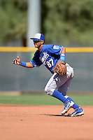 Kansas City Royals second baseman Jose Martinez (87) during an instructional league game against the Seattle Mariners on October 2, 2013 at Surprise Stadium Training Complex in Surprise, Arizona.  (Mike Janes/Four Seam Images)