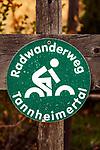 Oesterreich, Tirol, Tannheimer Tal, Graen: Radwanderweg Tannheimertal | Austria, Tyrol, Tannheim Valley, Graen: signpost bike trail Tannheim Valley