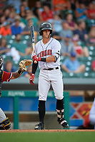 Indianapolis Indians shortstop Kevin Newman (3) at bat during a game against the Rochester Red Wings on July 24, 2018 at Victory Field in Indianapolis, Indiana.  Rochester defeated Indianapolis 2-0.  (Mike Janes/Four Seam Images)