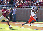 Miami wide receiver Jeff Thomas (4) gets ahead of Florida State defensive back Renardo Green (36) for a 39 yard touchdown in the first half of an NCAA college football game in Tallahassee, Fla., Saturday, Nov. 2, 2019. (AP Photo/Mark Wallheiser)